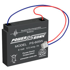 Power-sonic PS-605W Battery - 6 Volt 0.5 Amp Hour Sealed Lead Acid