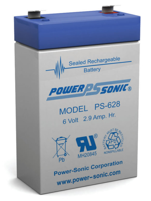 Power-sonic PS-628 Battery - 6 Volt 2.9 Amp Hour