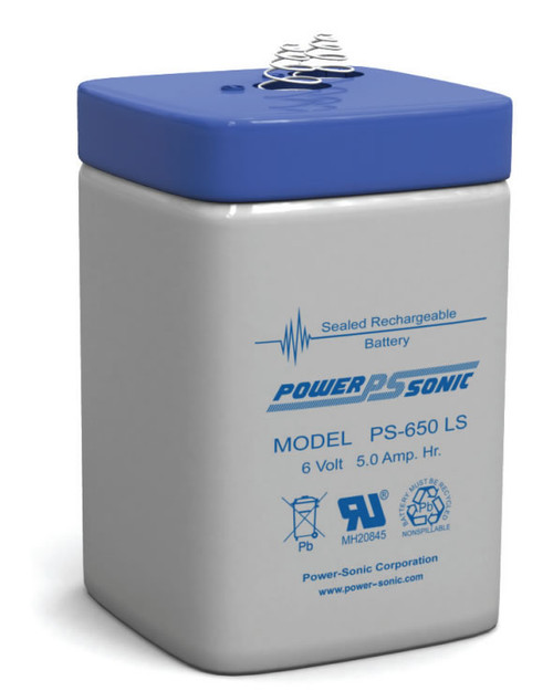 Power-sonic PS-650 LS Battery - 6 Volt 5.0 Amp Hour-Spring Terminals