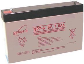 Genesis NP7-6 Battery - 6V 7.0 AH Enersys, Yuasa