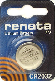 Renata CR2032 Battery - 3 Volt 225mAh Lithium Coin Cell