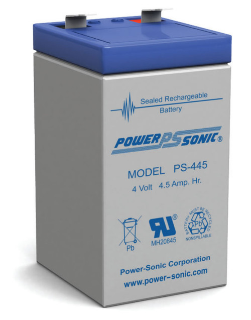 Power-Sonic PS-445 Sealed Rechargeable Battery - 4 Volt 4.5 Ah