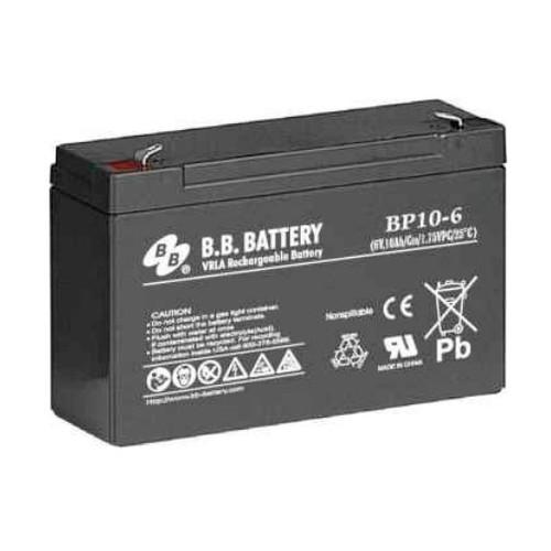 "B.B. Battery BP10-6 (.250"") - 6V 10Ah AGM - VRLA Rechargeable Battery"