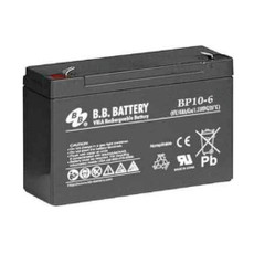 "B.B. Battery BP10-6 (.250"") - 6V 10Ah AGM - VRLA Rechargeable Battery"