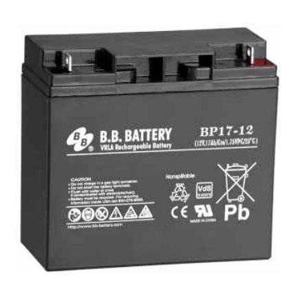 B.B. Battery BP17-12 (Nut & Bolt) - 12V 17Ah AGM - VRLA Rechargeable Battery