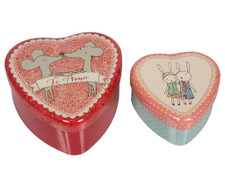 Maileg - Heart Shaped Tin, Loving Mice Couple, 2 Piece Set