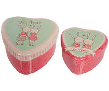 Maileg - Heart Shaped Tin, Rabbits, 2 Piece Set