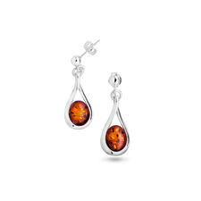 House of Amber - EARSTICK/SILVER W/AMBER 10x8 MM