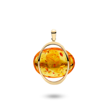 House of Amber - Infinity PENDANT 14KT W/AMBER 40x30 MM