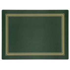 Continental Placemats Green/Gold Melamine - Hospitality Mats - Set of 10