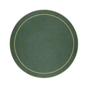 Round Tablemats Green/Gold Melamine - Hospitality Mats - Set of 10