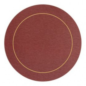 Round Placemats Red/Gold Melamine - Hospitality Mats - Set of 10