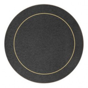 Round Placemats Blue/Gold Melamine - Hospitality Mats - Set of 10