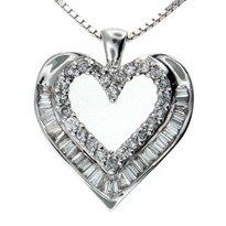 14kt G Color Diamond Heart Pendant