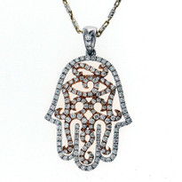 18kt Rose+White Gold Diamond Hamsa