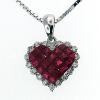 Ruby Diamond Heart Pendant