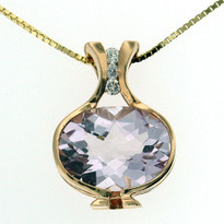 14kt Rose Gold Pink Amethyst Pendant w. Dia