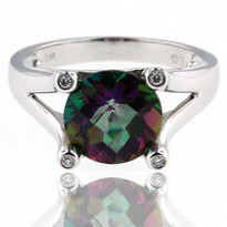 14kt White Mystic Topaz Diamond Ring