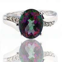 Mystic Topaz Diamond Ring in 14kt White Gold
