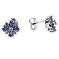 14kt White Gold Tanzanite Diamond Earrings