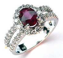 18kt White Gold Ruby Ring weighing 1.03ct