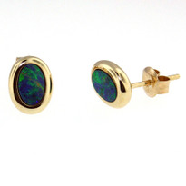 14kt Yellow Gold Opal Earrings