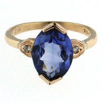 14kt Yellow Gold Tanzanite Ring with Dia