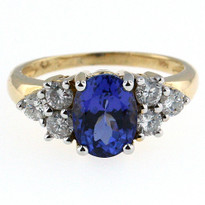 14kt Two Tone Tanzanite Diamond Ring