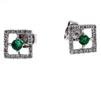 18kt White Gold Square Emerald Diamond Earring