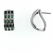 14kt White Gold .96ct Emerald Diamond Earrings