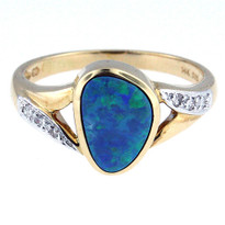Opal Diamond Ring set in 14kt Yellow Gold