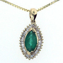 14kt Yellow Gold Emerald Diamond Pendant