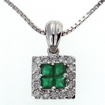 Square Emerald Diamond Pendant in 14kt White