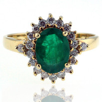 14kt Yellow Gold Emerald Diamond Ring
