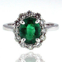 14kt White Gold Emerald Diamond Ring