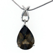 Pear Smokey Topaz Pendant in White Gold