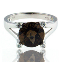 Smokey Topaz White Gold Diamond Ring