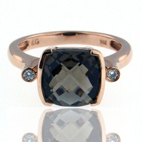 Smokey Topaz Diamond Ring in 14kt Rose Gold