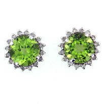 14kt White Gold Peridot Earrings with Dia
