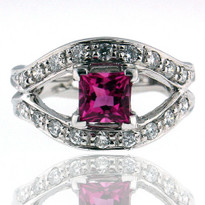14kt White Gold Tourmaline Ring with Dia