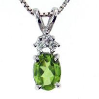 Peridot Diamond Pendant in 14kt White Gold
