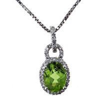14kt White Gold Peridot Pendant with .16ct Dia