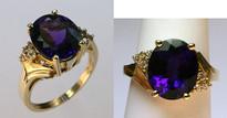 14kt Yellow Gold Amethyst .15ct Diamond Ring