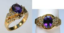 14kt Yellow Gold 2.02ct Amethyst Diamond Ring