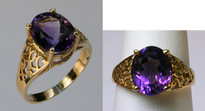 14kt Yellow Gold Amethyst Ring R607 1879
