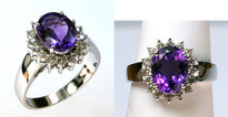 14kt White Gold Amethyst Diamond Ring 6883232