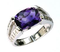 14kt White Gold Amethyst Diamond Ring 21016