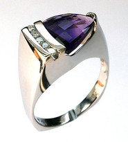 14kt White Gold Amethyst Ring with .15ct Diamond