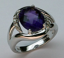14kt White Gold Amethyst Ring with .12ct Dia