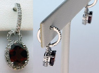 14kt White Gold Garnet Earring with .41ct Diamonds